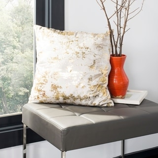 Safavieh Edmee Metallic Beige/ Gold 20-inch Decorative Pillow