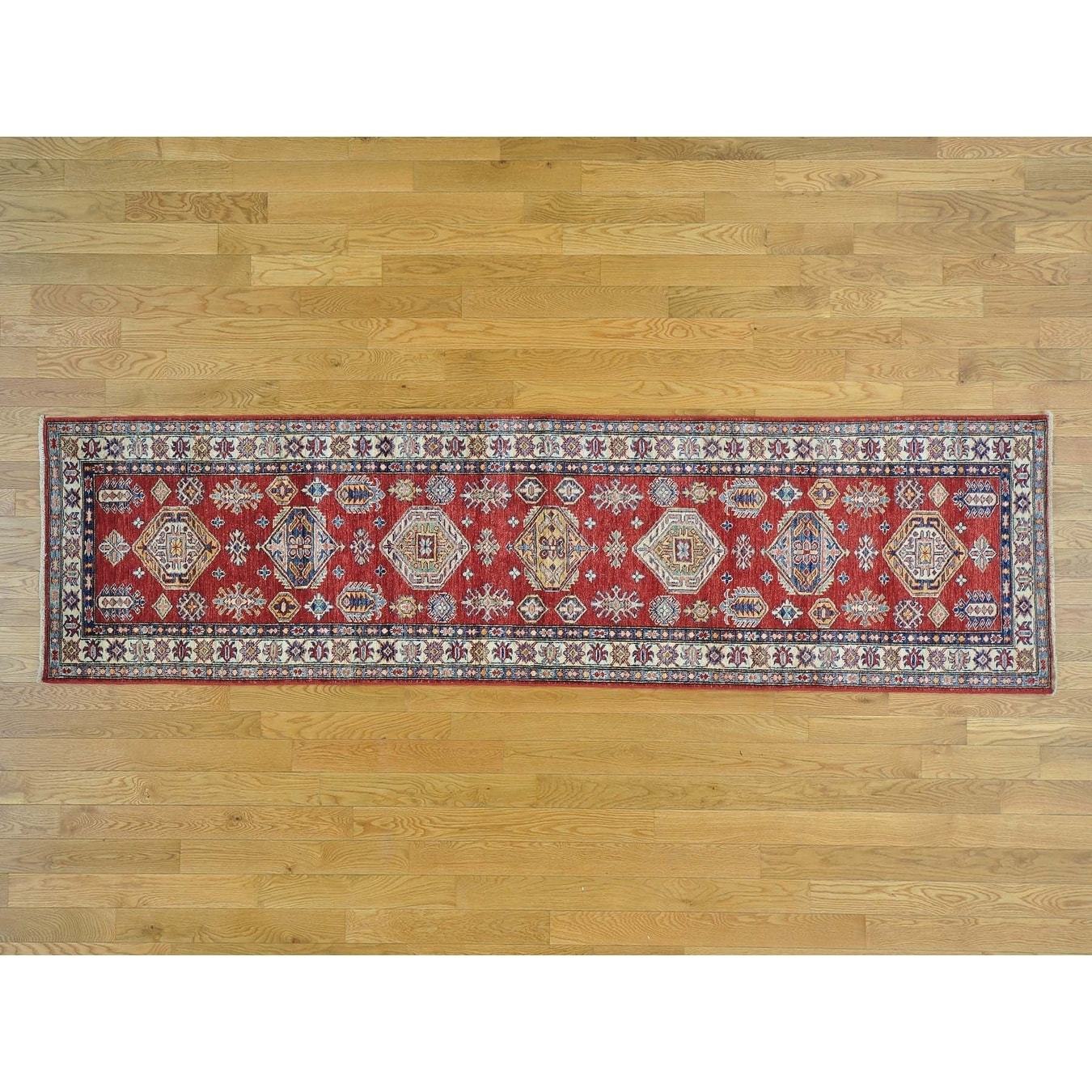 Hand Knotted Red Kazak with Wool Oriental Rug - 28 x 910