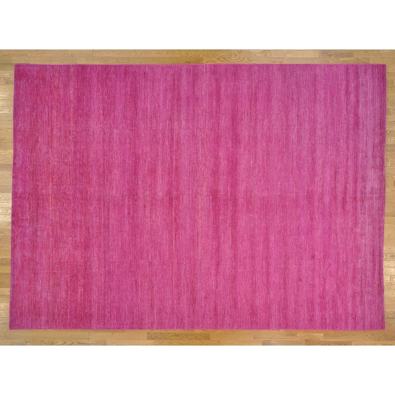 Hand Knotted Pink Modern & Contemporary with Wool Oriental Rug - 10 x 14