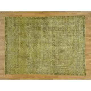 Hand Knotted Yellow Overdyed & Vintage with Wool Oriental Rug - 6'6 x 9'