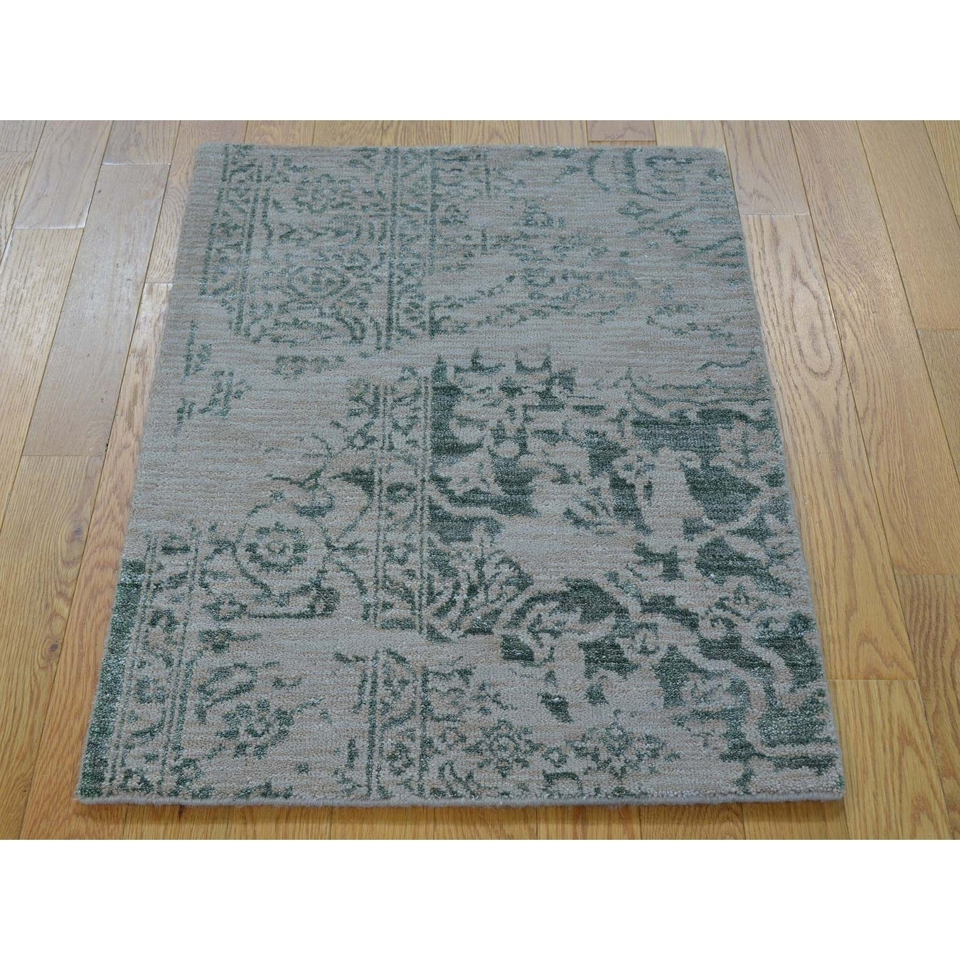 Hand Knotted Green Heriz with Wool & Silk Oriental Rug - 2 x 3