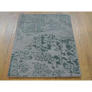 Hand Knotted Green Heriz with Wool & Silk Oriental Rug - 2' x 3'