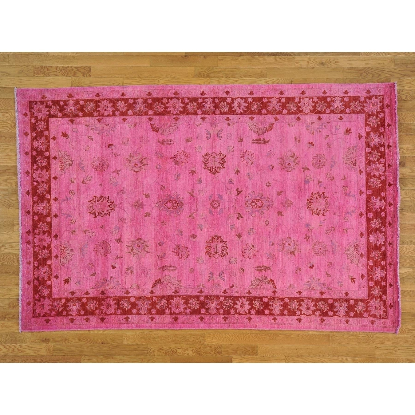 Hand Knotted Pink Oushak And Peshawar with Wool Oriental Rug - 6 x 92