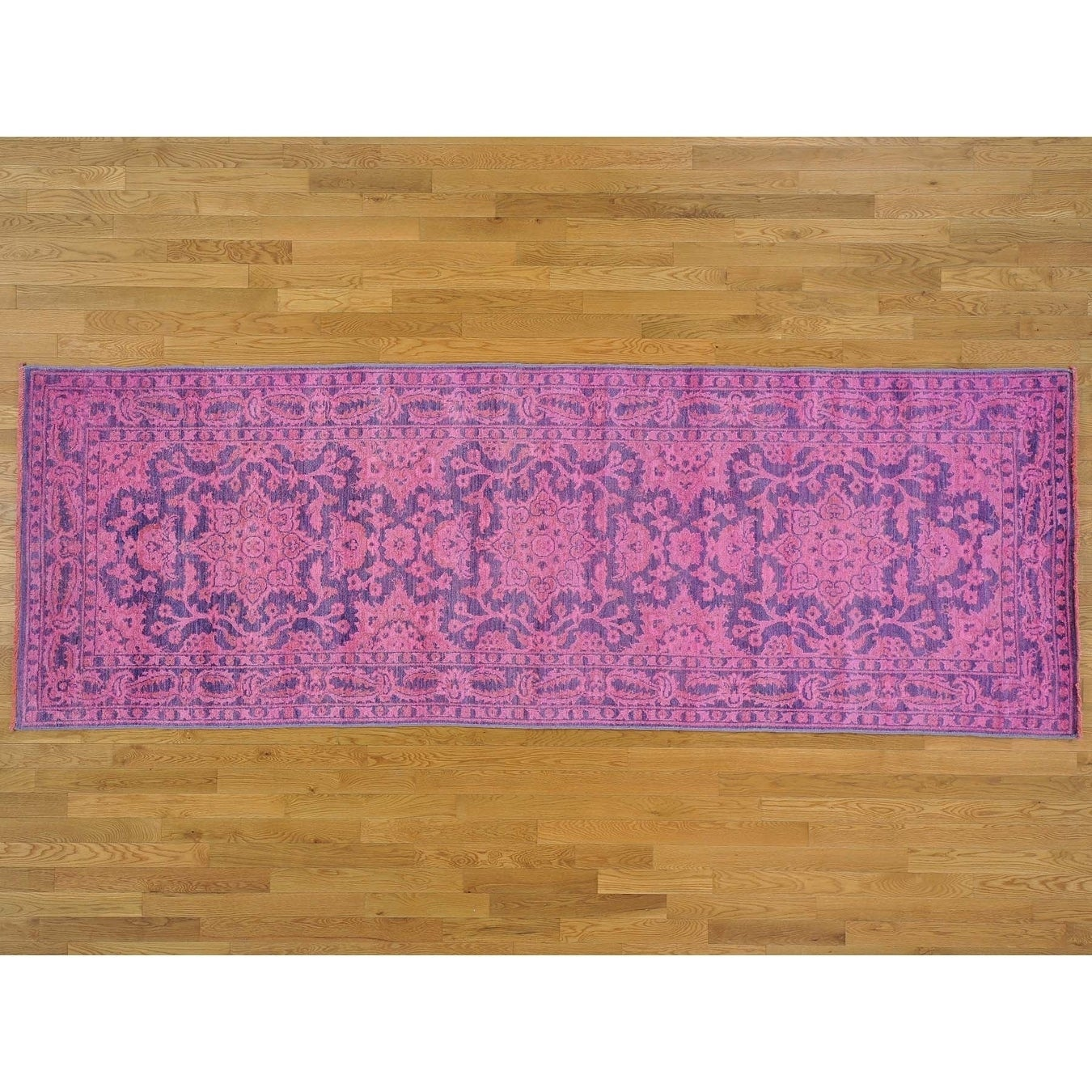 Hand Knotted Pink Oushak And Peshawar with Wool Oriental Rug - 42 x 1110