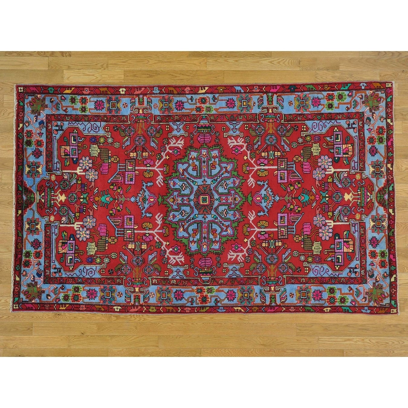 Hand Knotted Red Persian with Wool Oriental Rug - 5 x 81