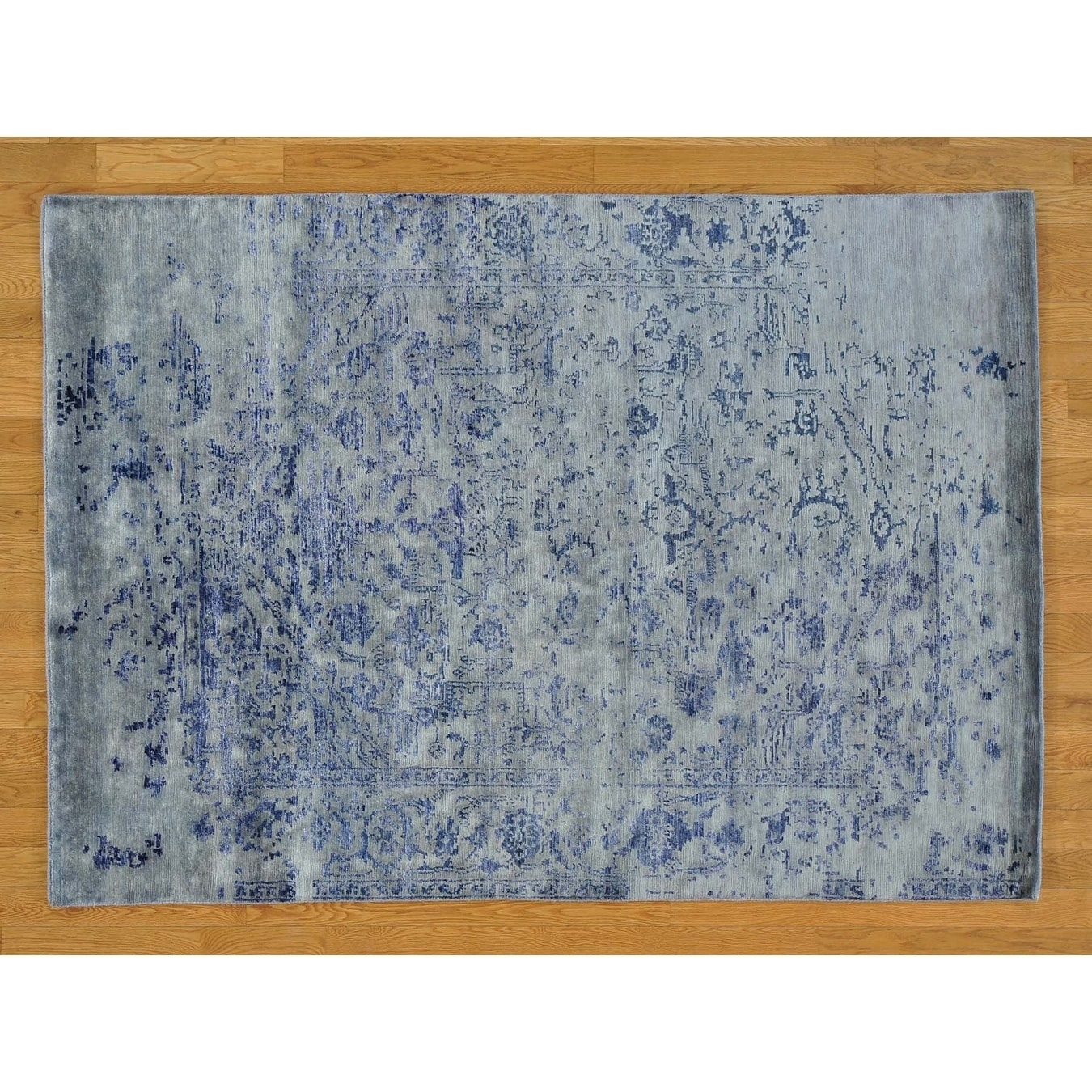 Hand Knotted Blue Modern & Contemporary with Wool & Silk Oriental Rug - 5 x 7