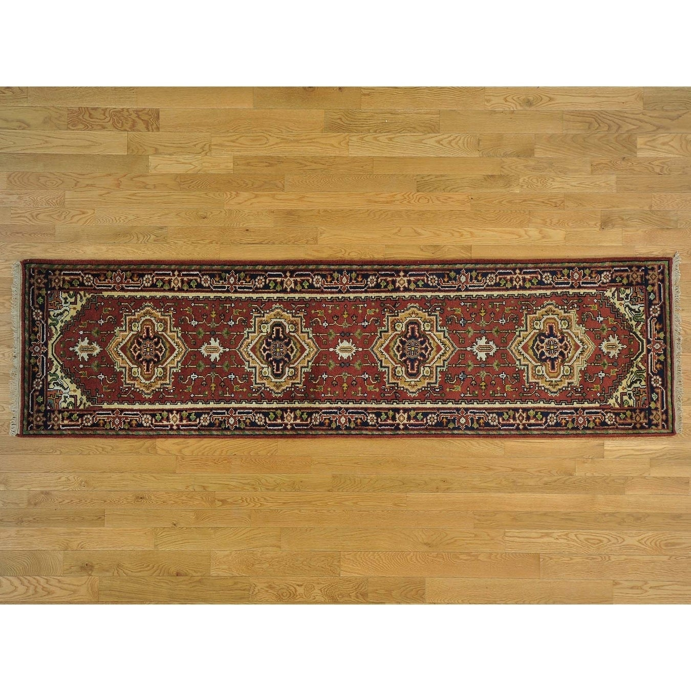 Hand Knotted Red Heriz with Wool Oriental Rug - 29 x 10