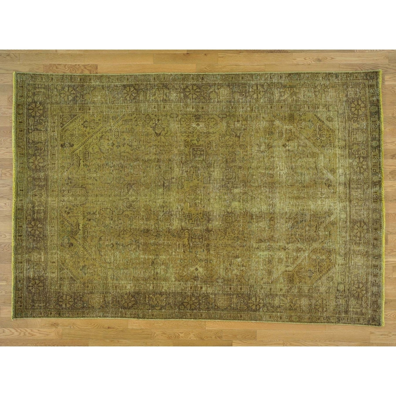 Hand Knotted Brown Overdyed & Vintage with Wool Oriental Rug - 64 x 94