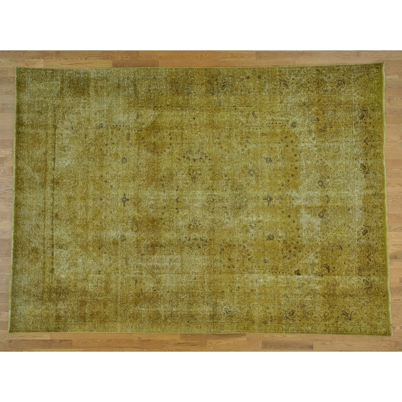 Hand Knotted Yellow Overdyed & Vintage with Wool Oriental Rug - 82 x 111
