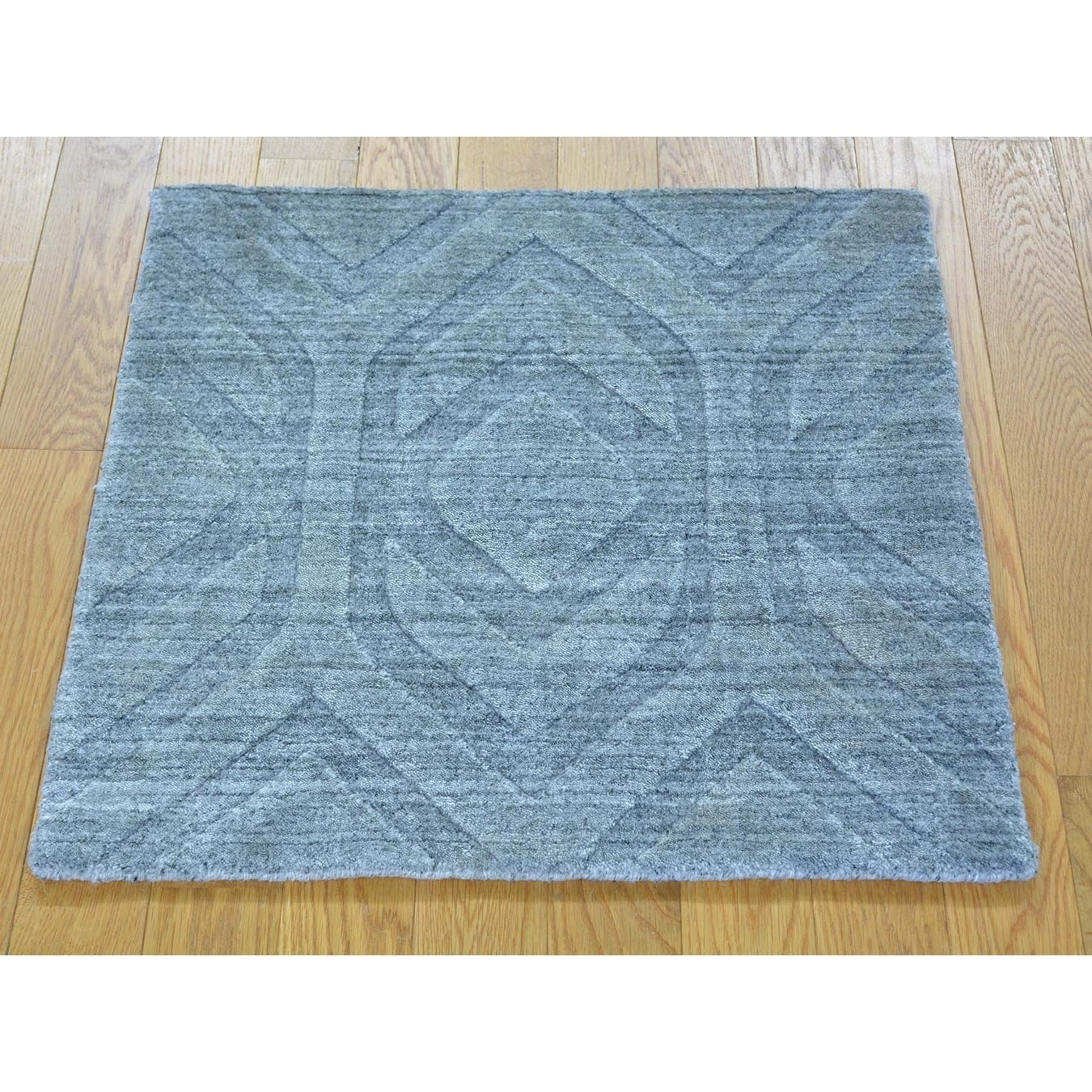 Hand Knotted Grey Modern & Contemporary with Wool & Silk Oriental Rug - 21 x 21