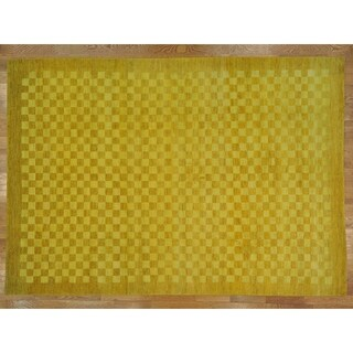 Hand Knotted Yellow Modern & Contemporary with Wool Oriental Rug (10'9 x 15'3)