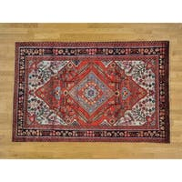 Hand Knotted Red Persian with Wool Oriental Rug - 5'1 x 7'10