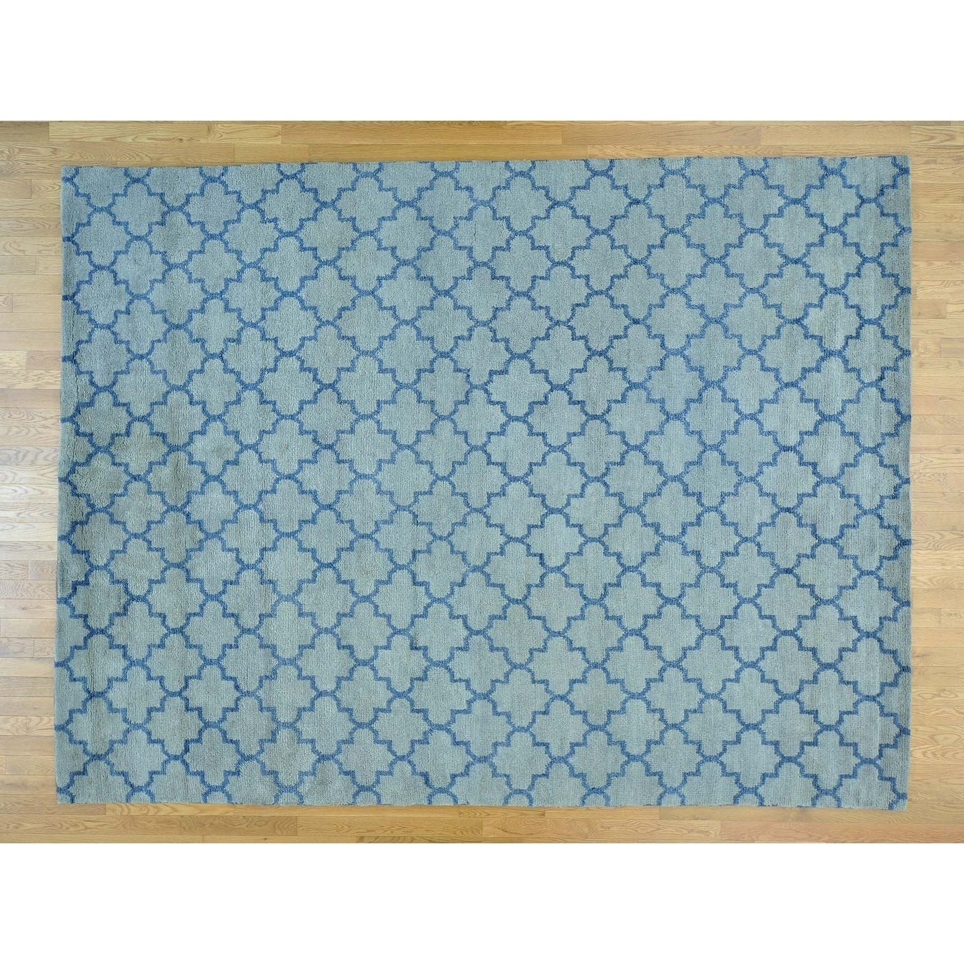 Hand Knotted Blue Clearance with Wool Oriental Rug - 9'1 x 12'