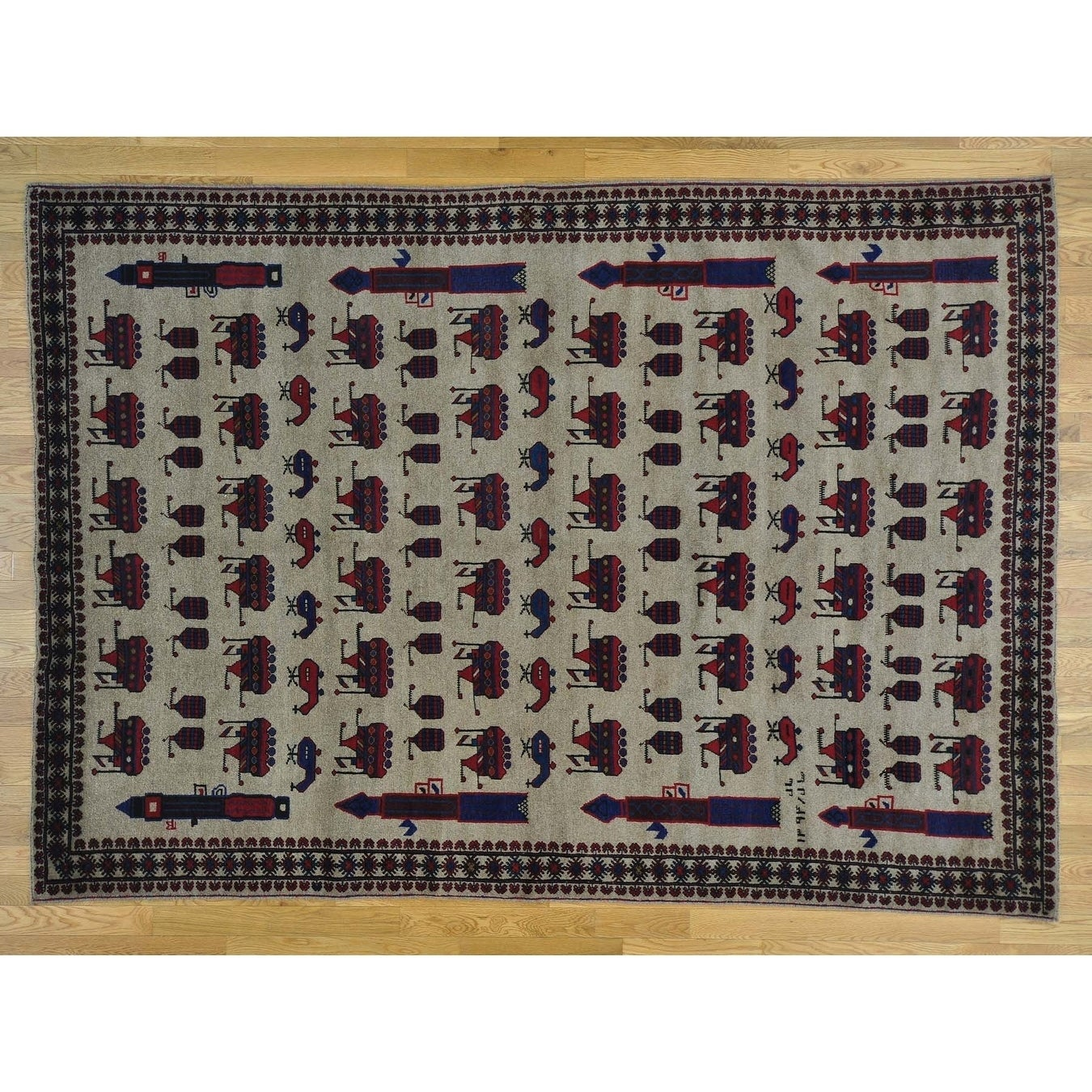 Hand Knotted Beige Tribal & Geometric with Wool Oriental Rug - 610 x 96