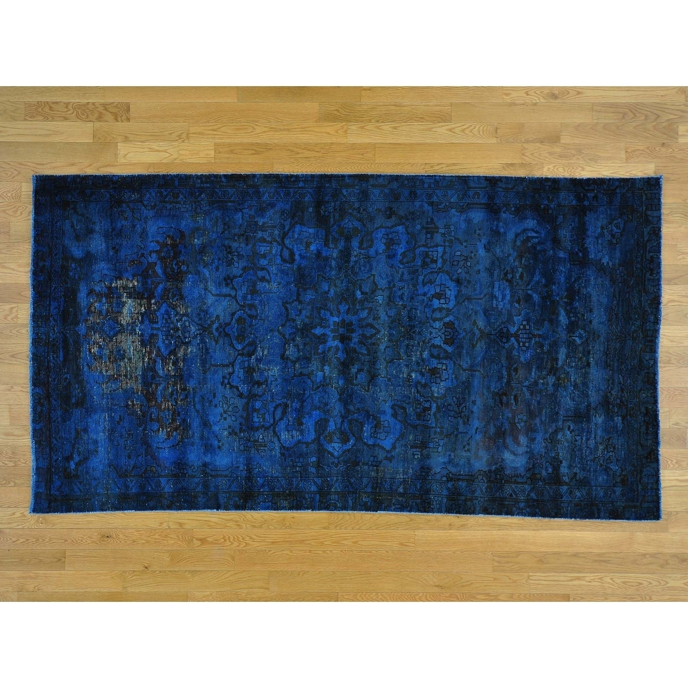 Hand Knotted Blue Overdyed & Vintage with Wool Oriental Rug - 47 x 85