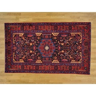 Hand Knotted Blue Persian with Wool Oriental Rug - 5' x 8'5