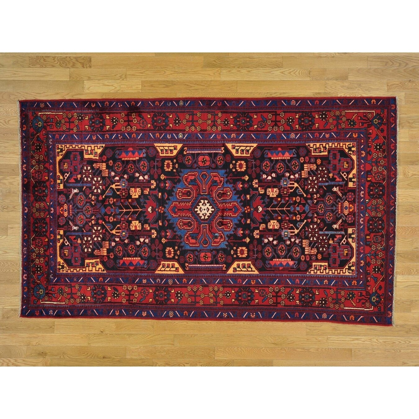 Hand Knotted Blue Persian with Wool Oriental Rug - 5 x 85