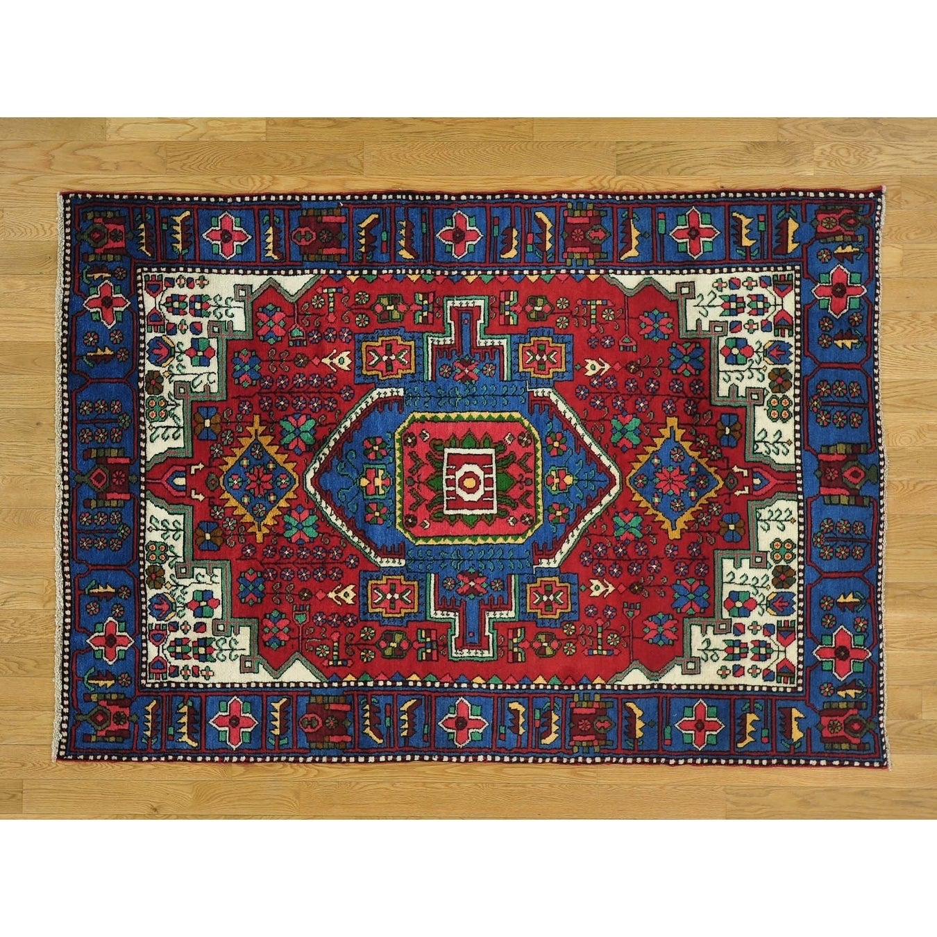 Hand Knotted Red Persian with Wool Oriental Rug - 47 x 67