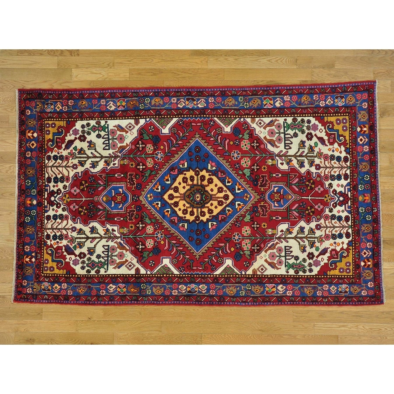 Hand Knotted Red Persian with Wool Oriental Rug - 5' x 8'1