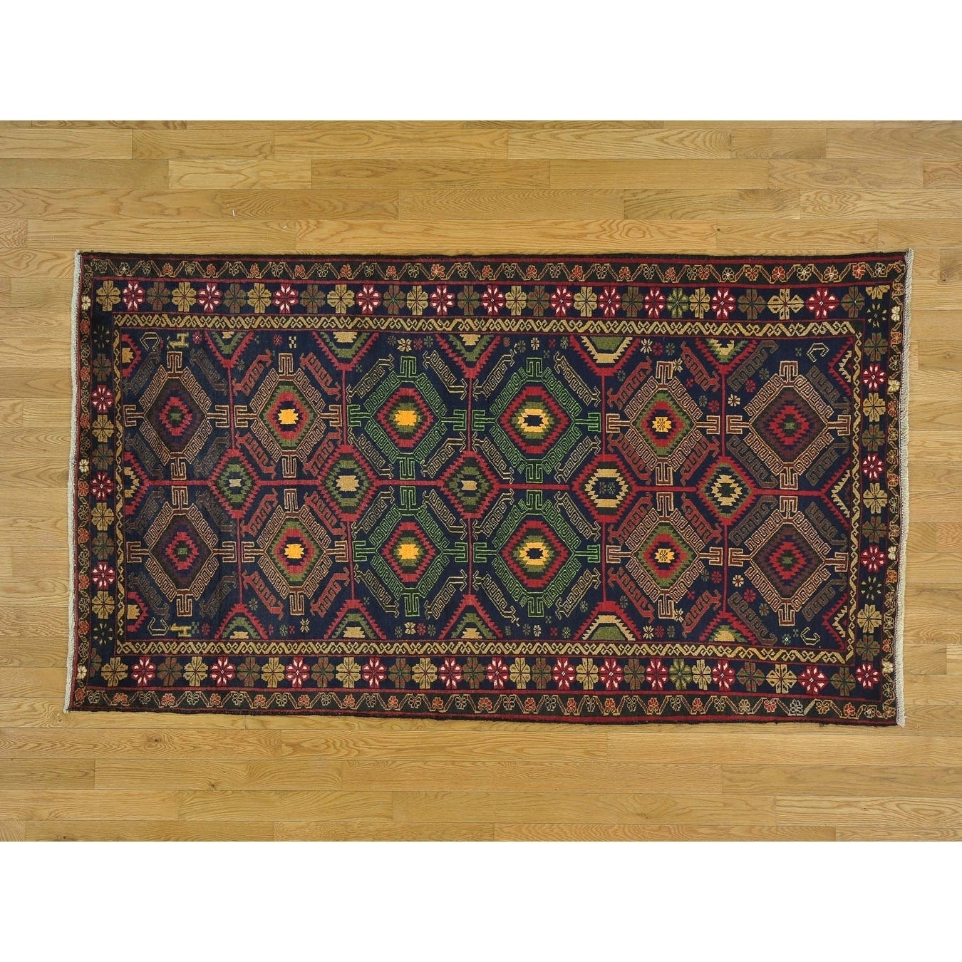 Hand Knotted Blue Tribal & Geometric with Wool Oriental Rug - 4'2 x 7'6