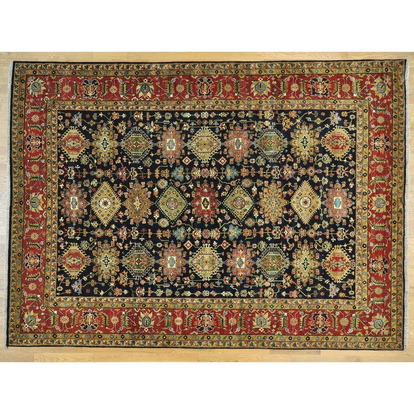 Hand Knotted Black Heriz with Wool Oriental Rug - 8'9 x 12'