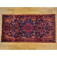 Hand Knotted Blue Persian with Wool Oriental Rug - 5'4 x 10'4