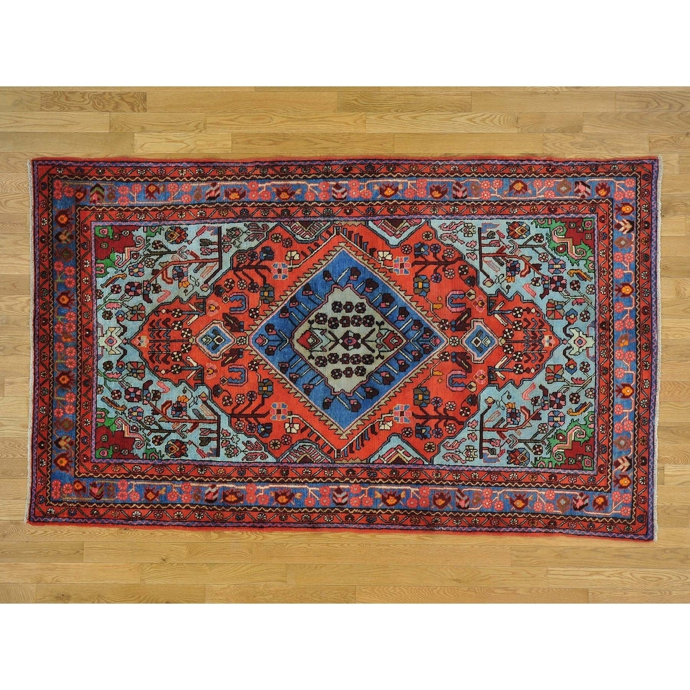 Hand Knotted Red Persian with Wool Oriental Rug - 5' x 8'3