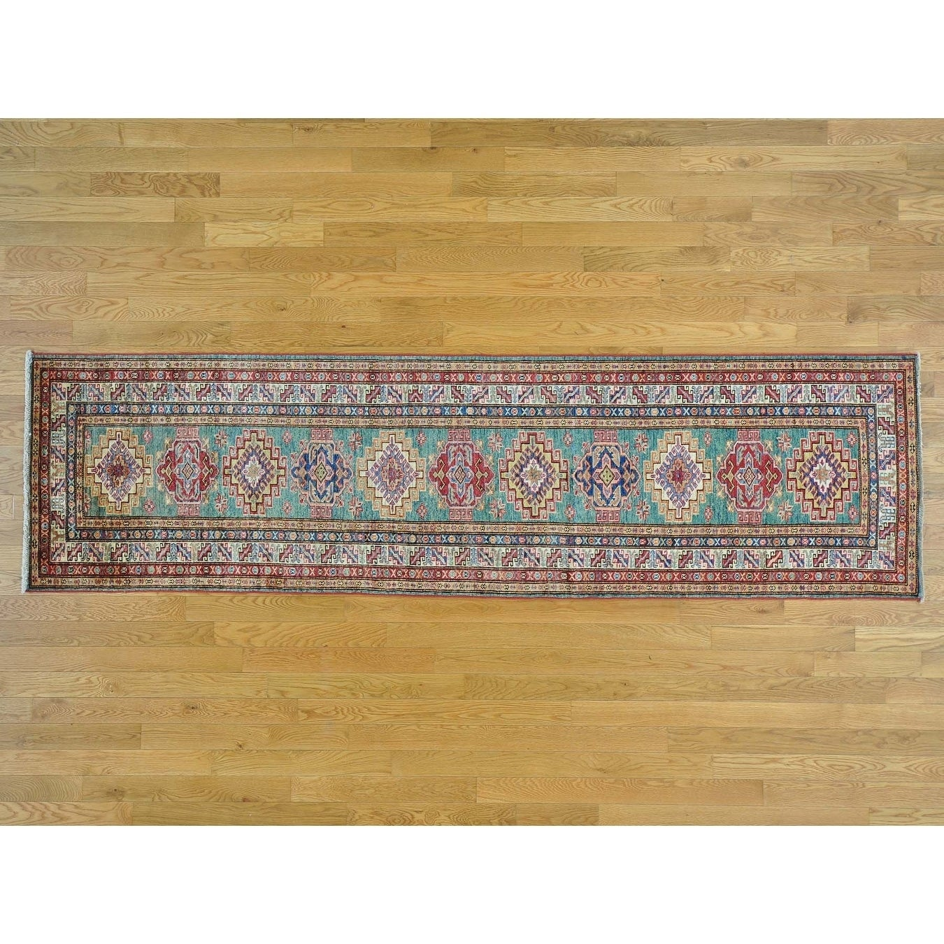 Hand Knotted Green Kazak with Wool Oriental Rug - 2'7 x 9'7