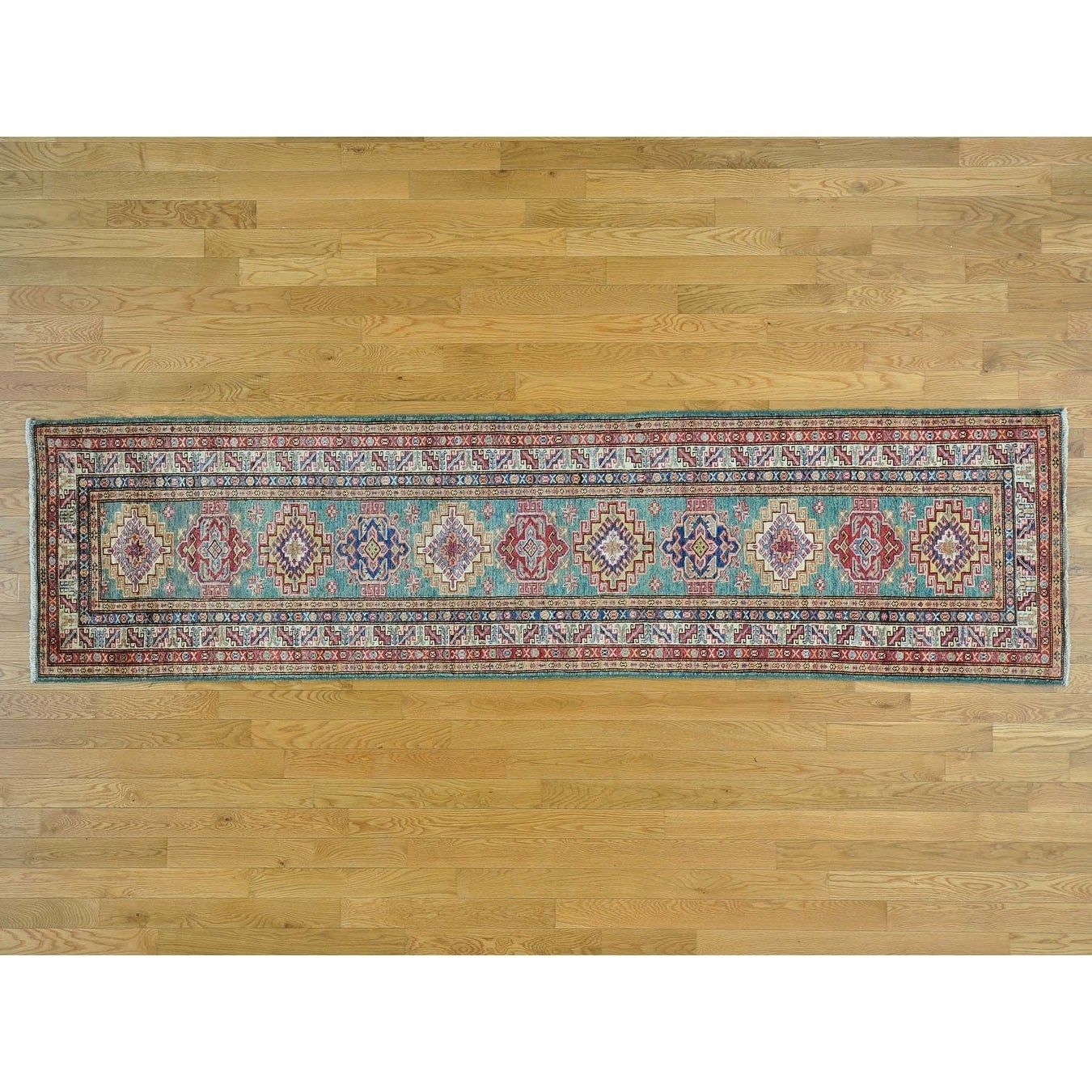 Hand Knotted Teal Kazak with Wool Oriental Rug - 27 x 98