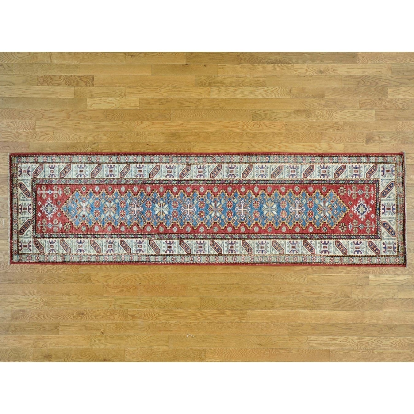 Hand Knotted Red Kazak with Wool Oriental Rug - 2'9 x 9'9
