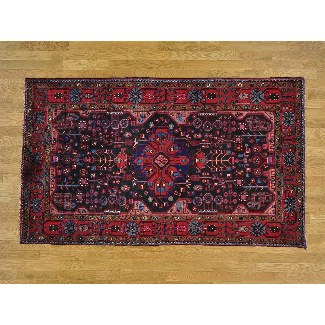 Hand Knotted Black Persian with Wool Oriental Rug - 4'9 x 8'