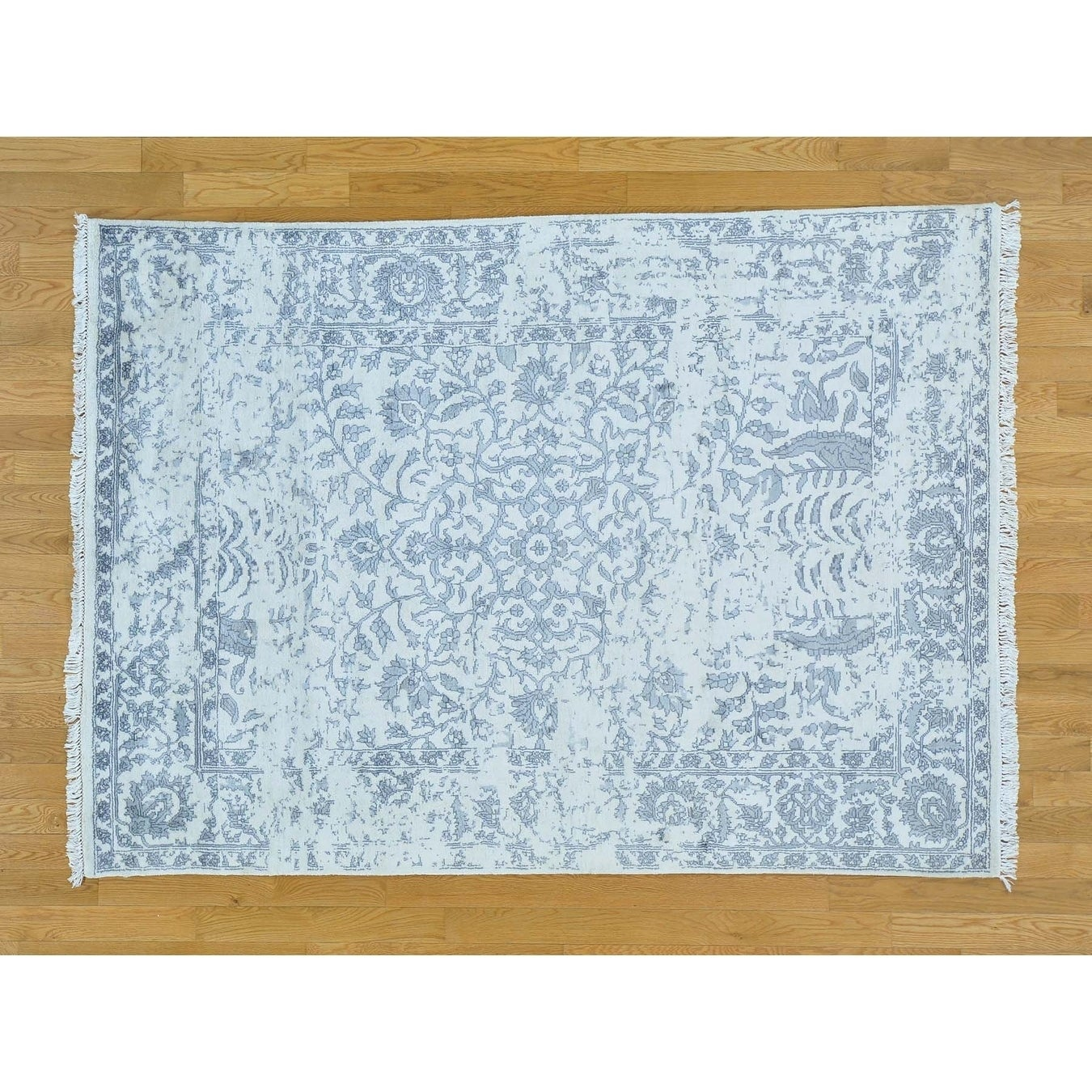 Hand Knotted Ivory Modern & Contemporary with Art Silk Oriental Rug - 5'2 x 7'