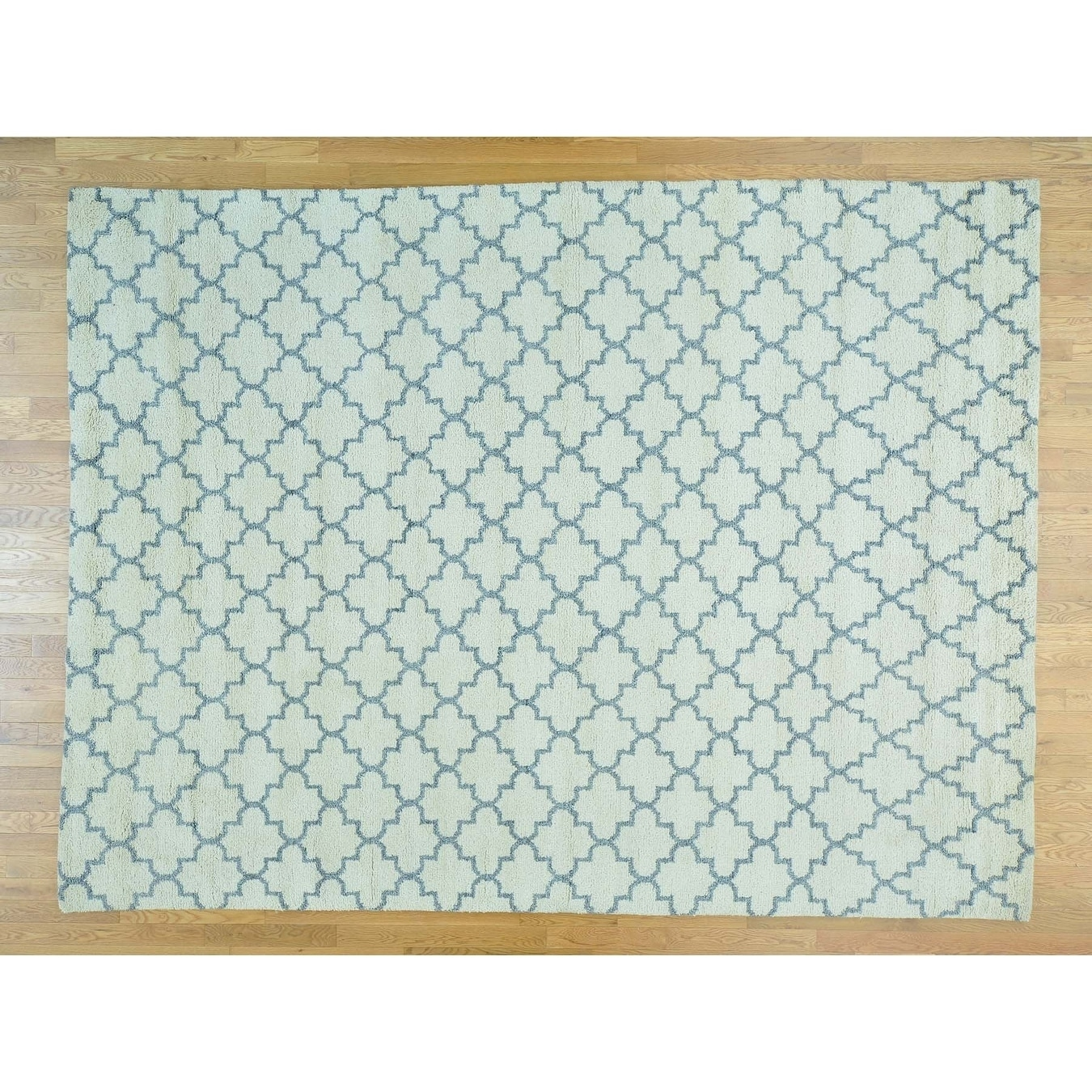 Hand Knotted Ivory Modern & Contemporary with Wool Oriental Rug - 9' x 12'1