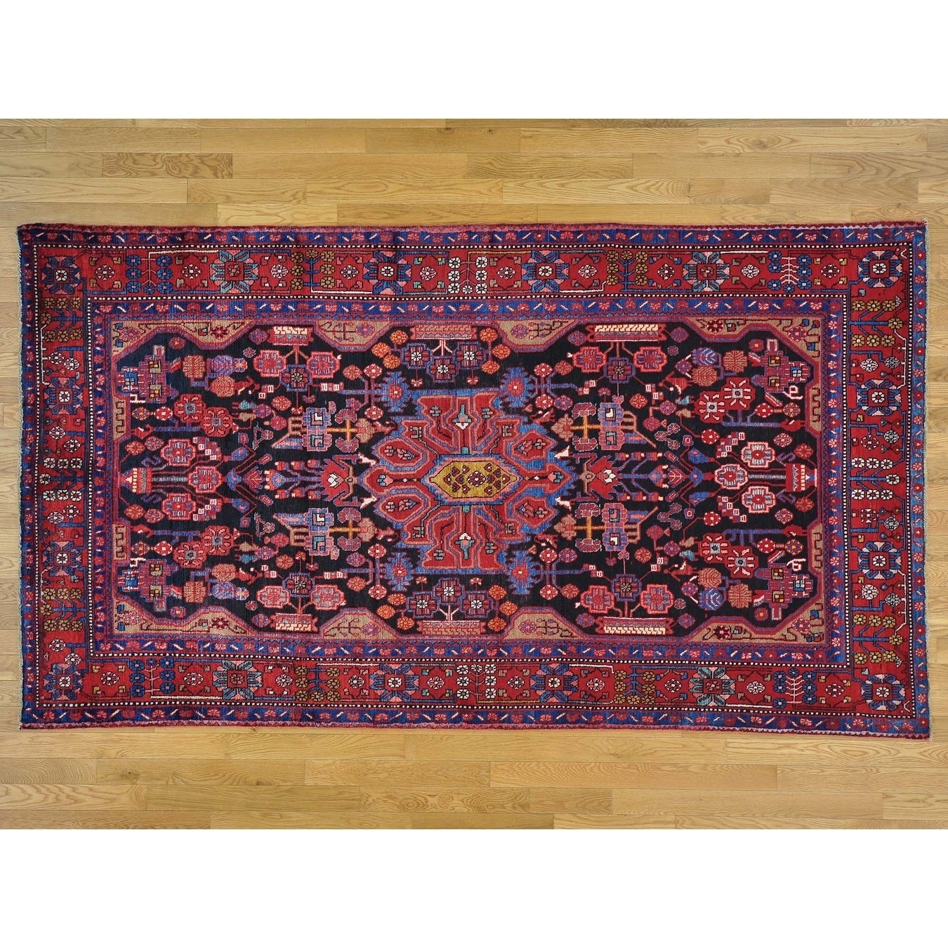 Hand Knotted Black Persian with Wool Oriental Rug - 5'5 x 9'8