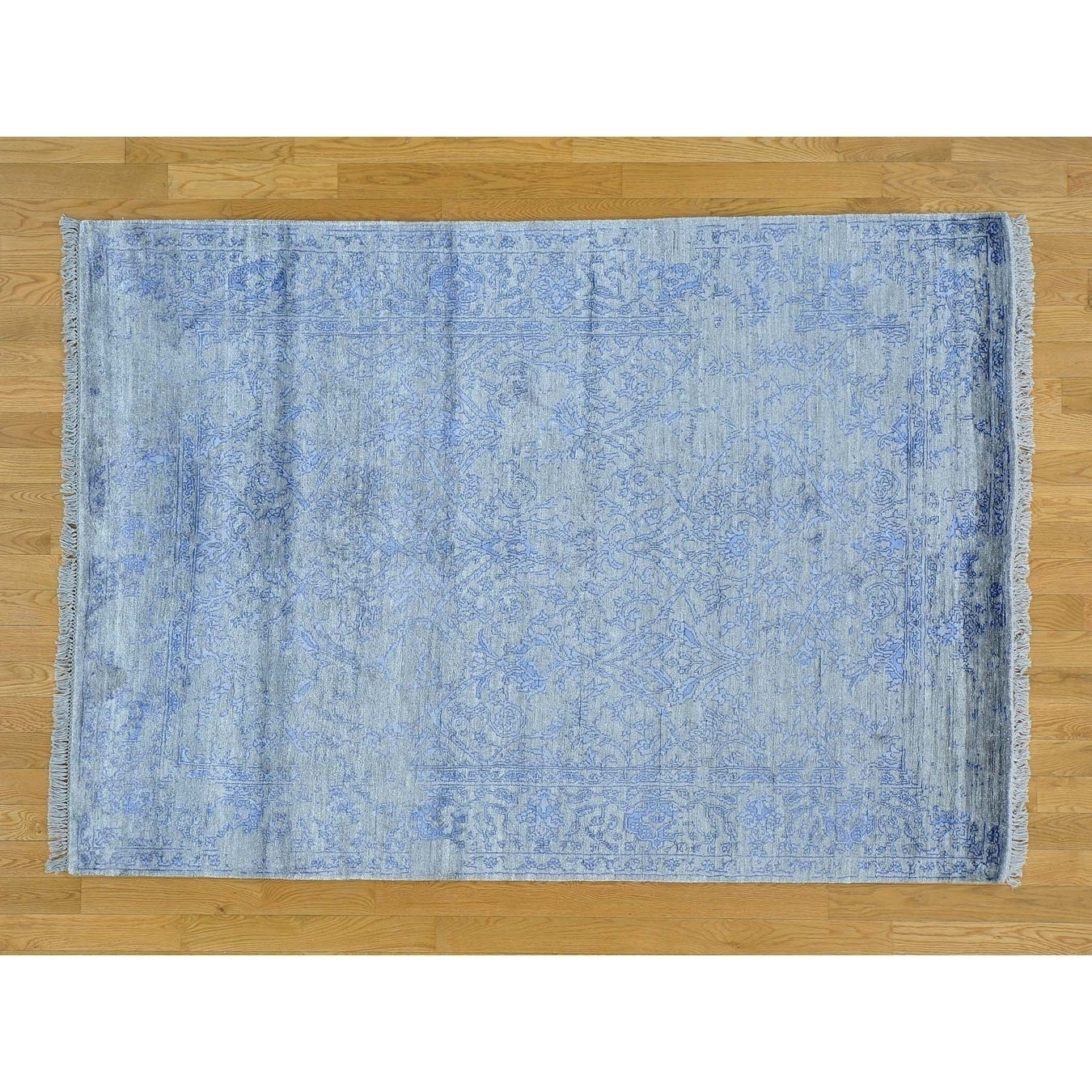 Hand Knotted Grey Modern & Contemporary with Art Silk Oriental Rug - 5' x 7'1