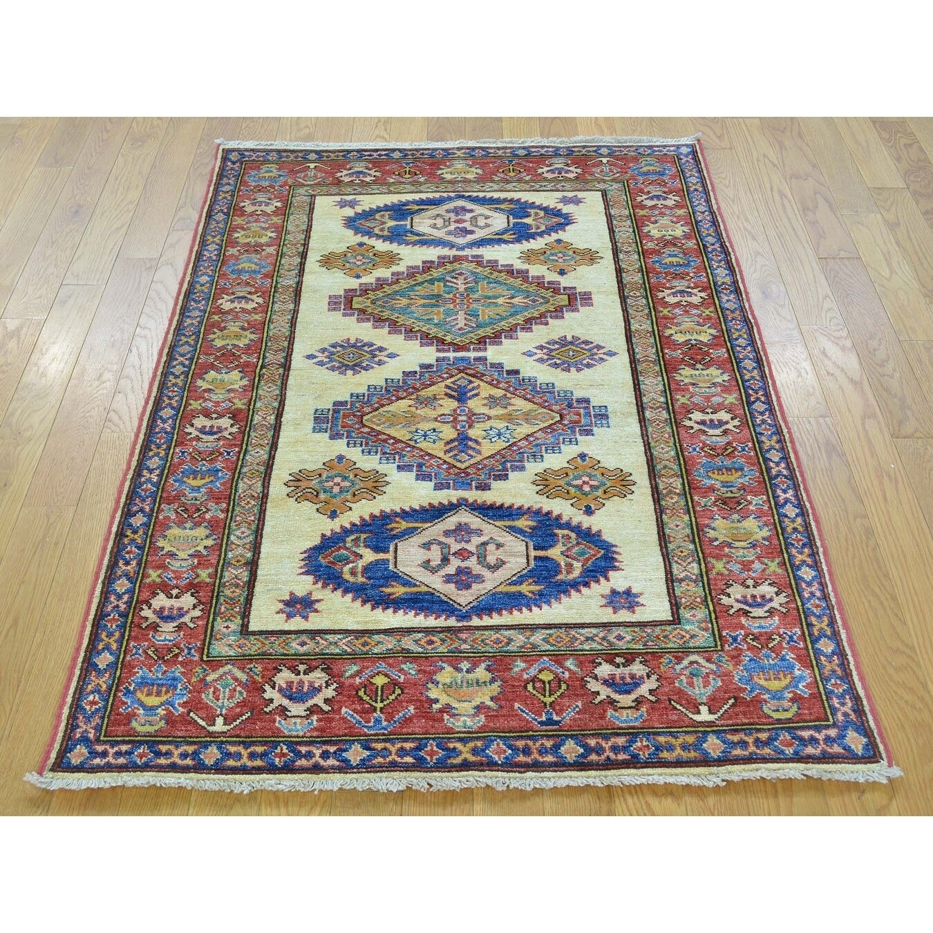 Hand Knotted Ivory Kazak with Wool Oriental Rug - 3'4 x 4'10