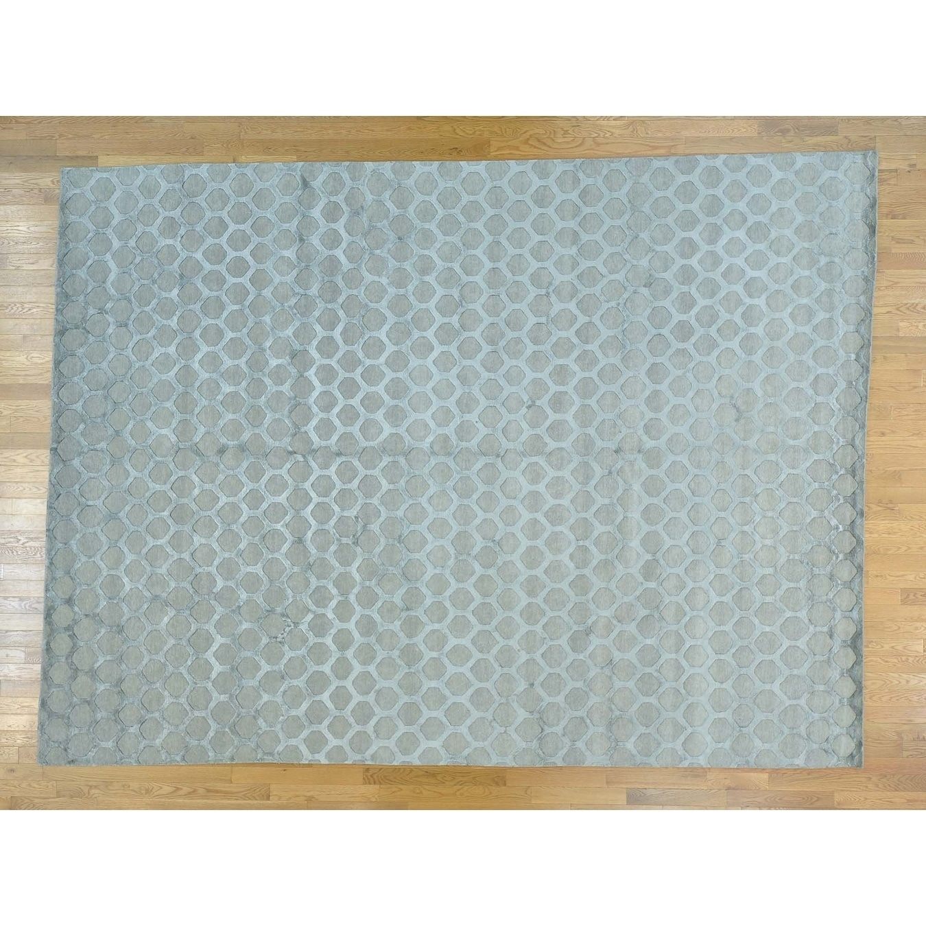 Hand Knotted Grey Modern & Contemporary with Wool & Silk Oriental Rug - 10 x 135
