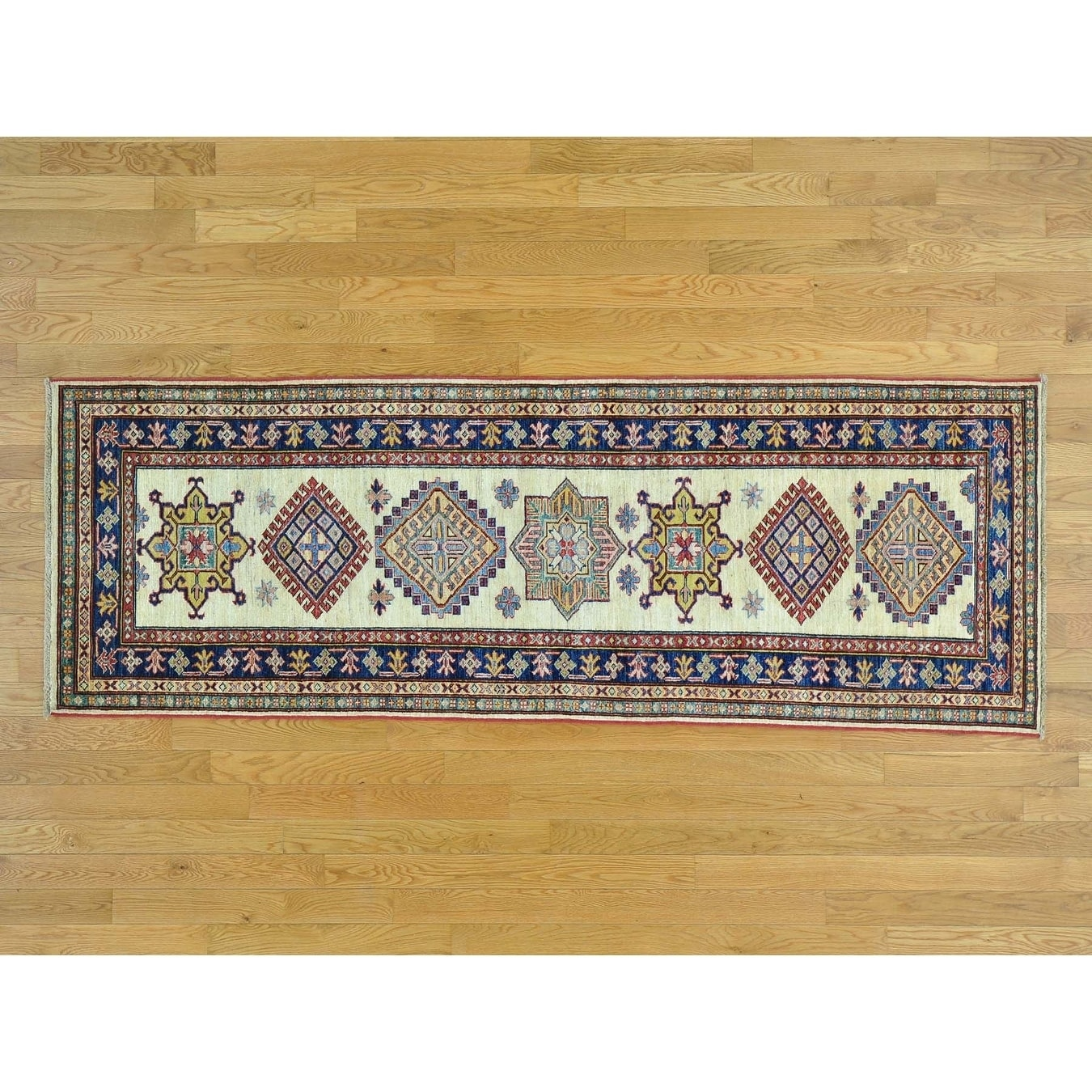 Hand Knotted Ivory Kazak with Wool Oriental Rug - 29 x 710