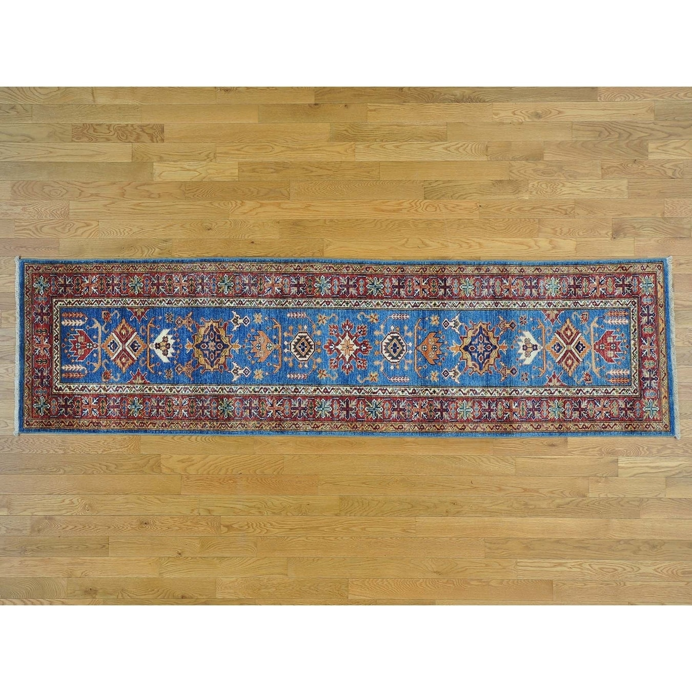 Hand Knotted Blue Kazak with Wool Oriental Rug - 28 x 910