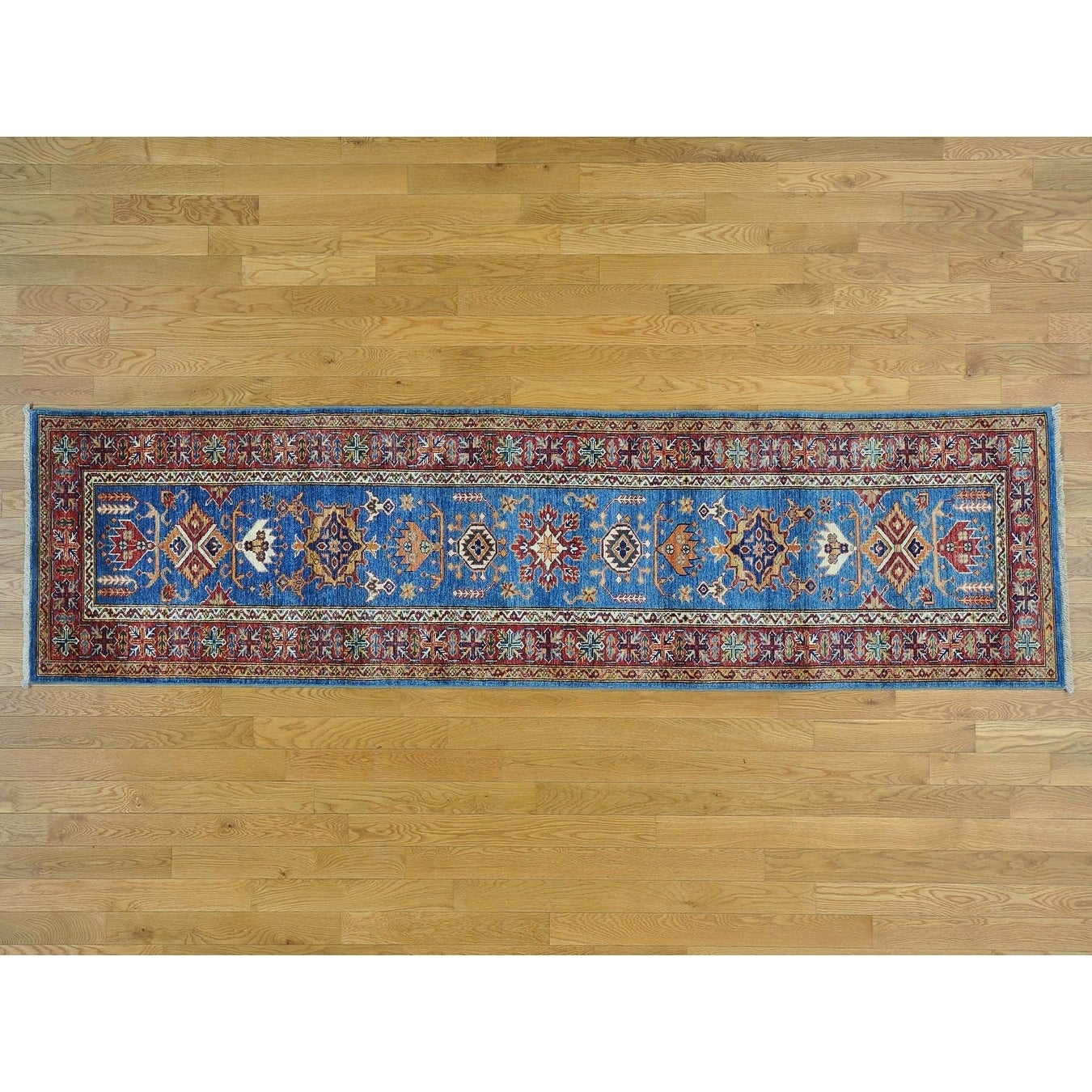 Hand Knotted Blue Kazak with Wool Oriental Rug - 2'8 x 9'10