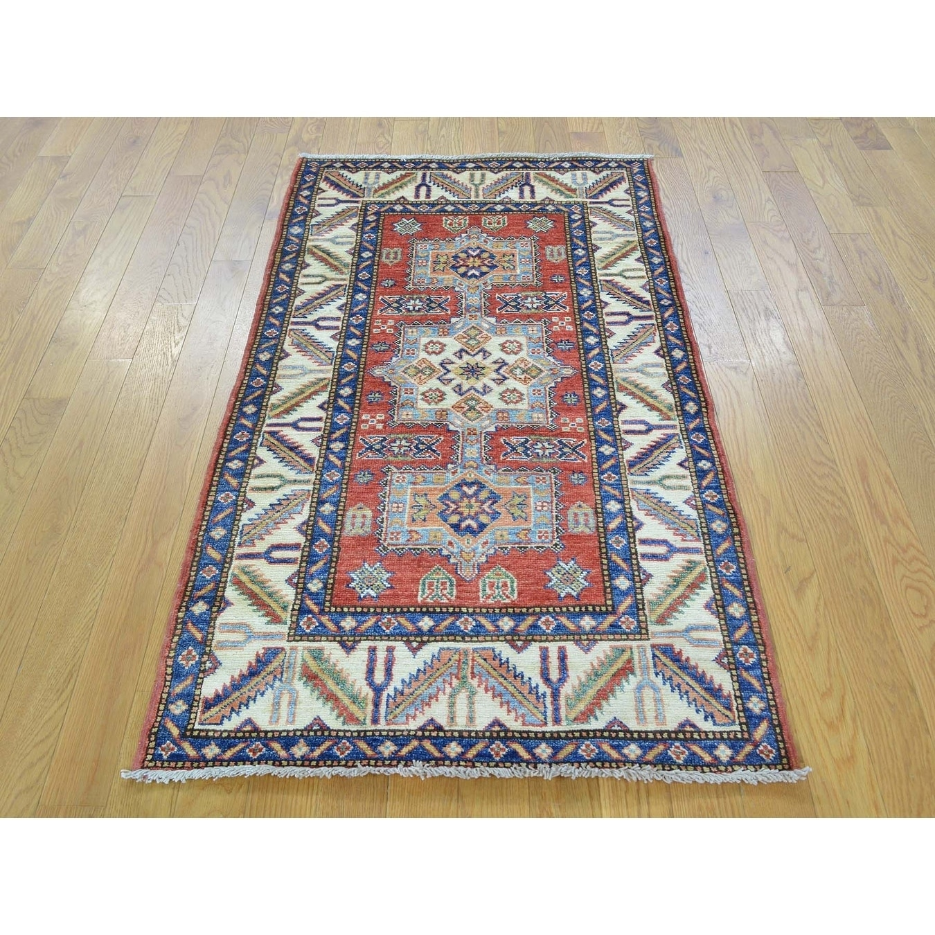 Hand Knotted Red Kazak with Wool Oriental Rug - 27 x 49