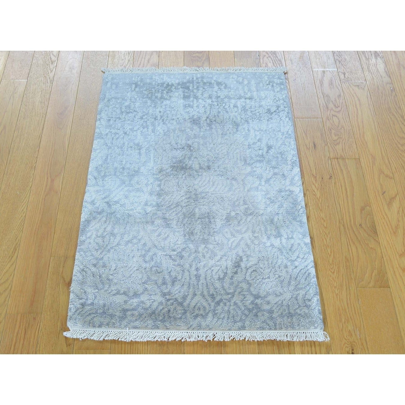 Hand Knotted Grey Modern & Contemporary with Art Silk Oriental Rug - 2' x 3'