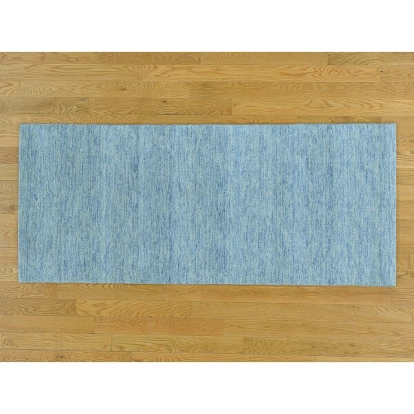 Hand Knotted Grey Modern & Contemporary with Wool Oriental Rug - 2'7 x 6'1