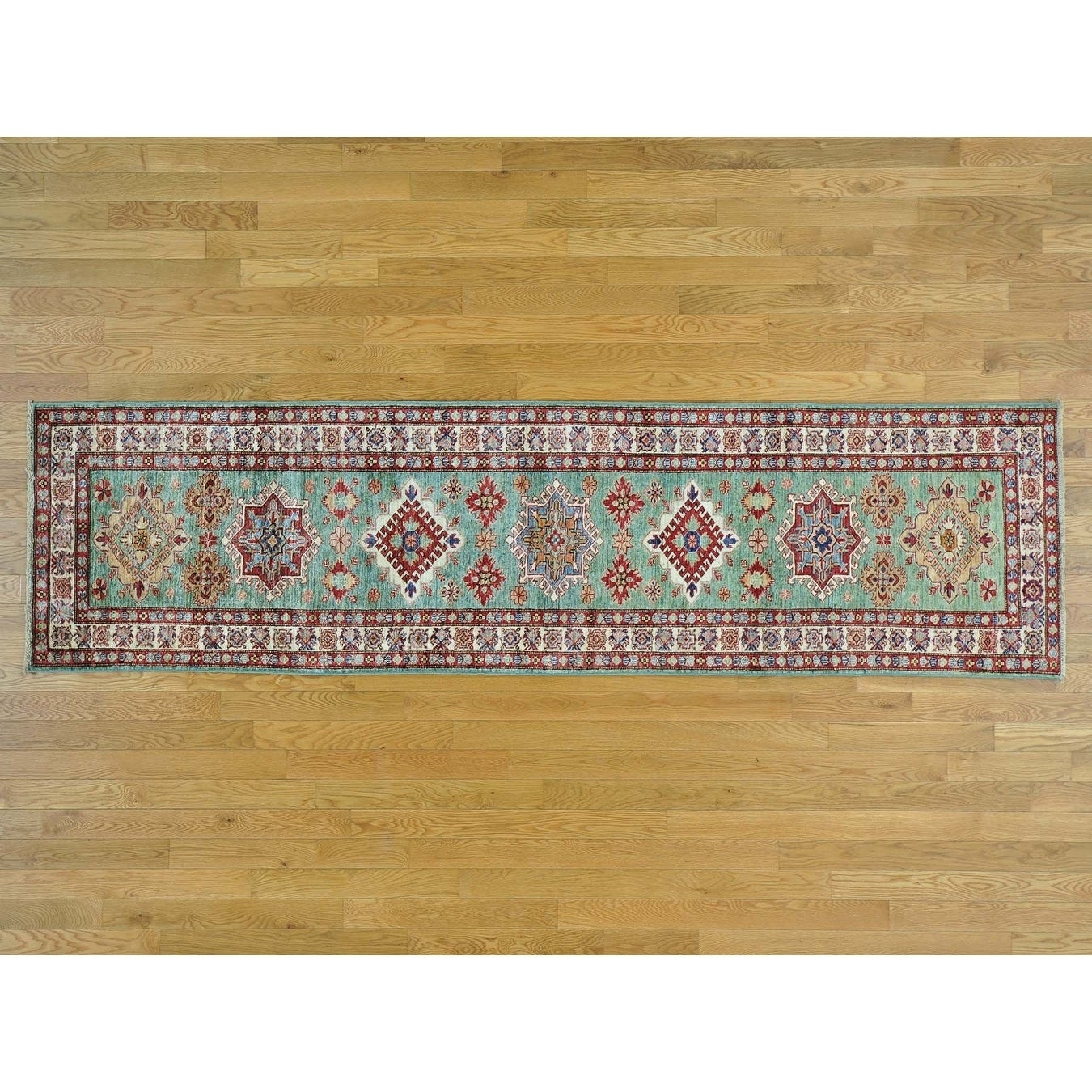 Hand Knotted Teal Kazak with Wool Oriental Rug - 26 x 97