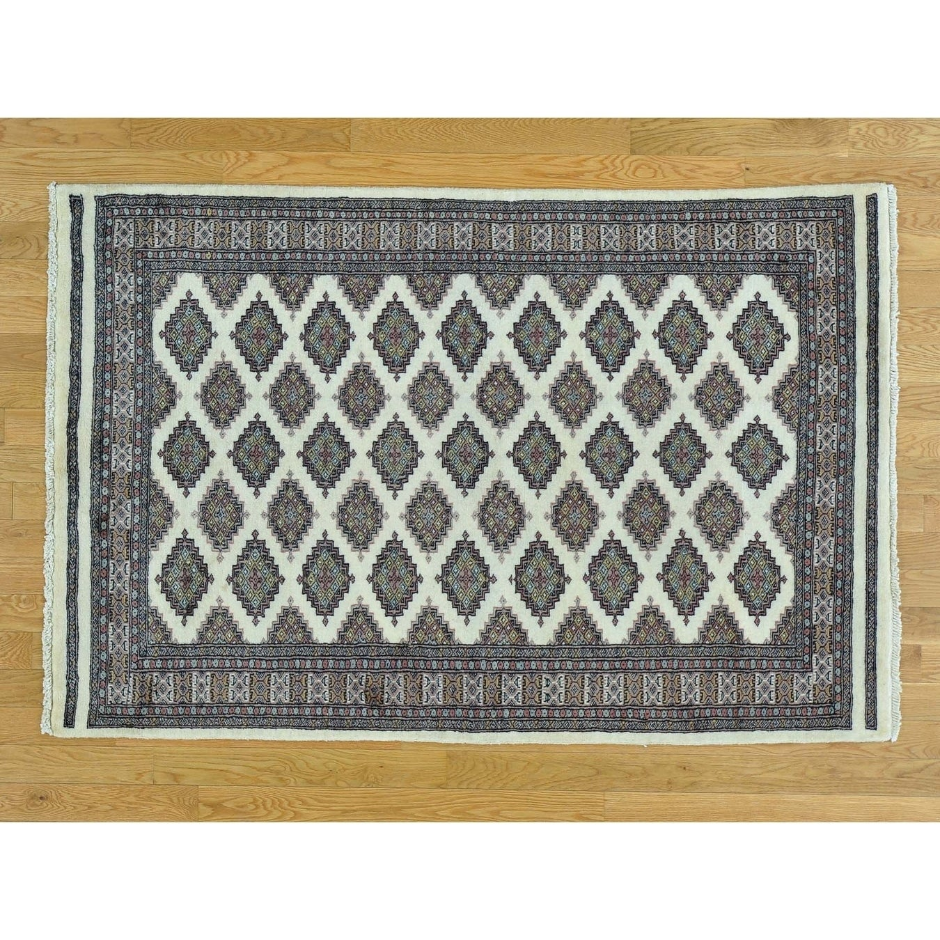Hand Knotted Ivory Tribal & Geometric with Wool Oriental Rug - 4 x 61