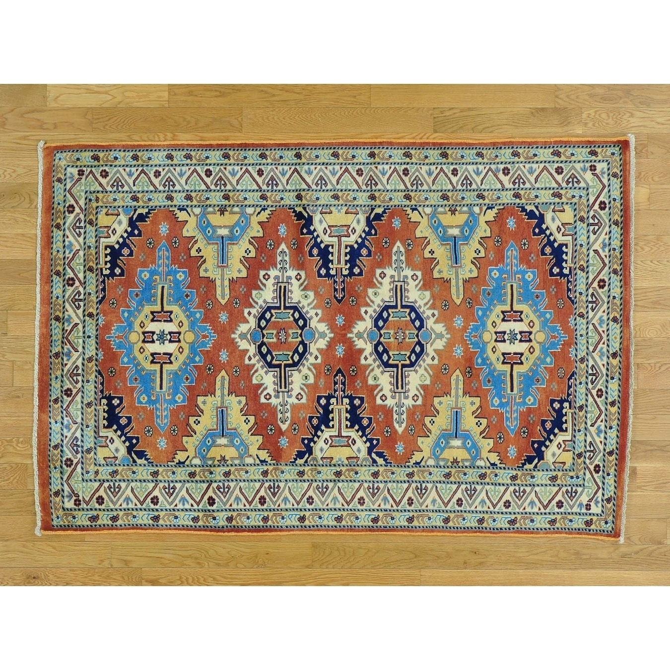 Hand Knotted Red Kazak with Wool Oriental Rug - 42 x 63
