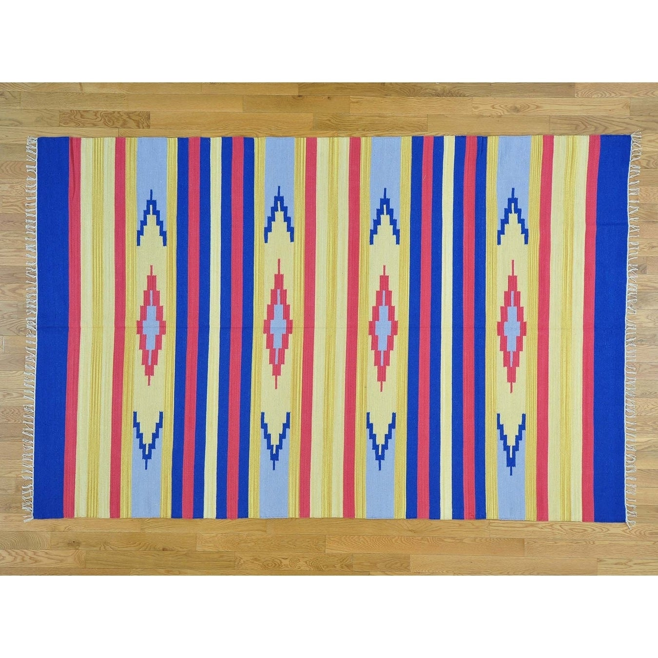 Hand Knotted Multicolored Flat Weave with Cotton Oriental Rug - 6' x 9'2