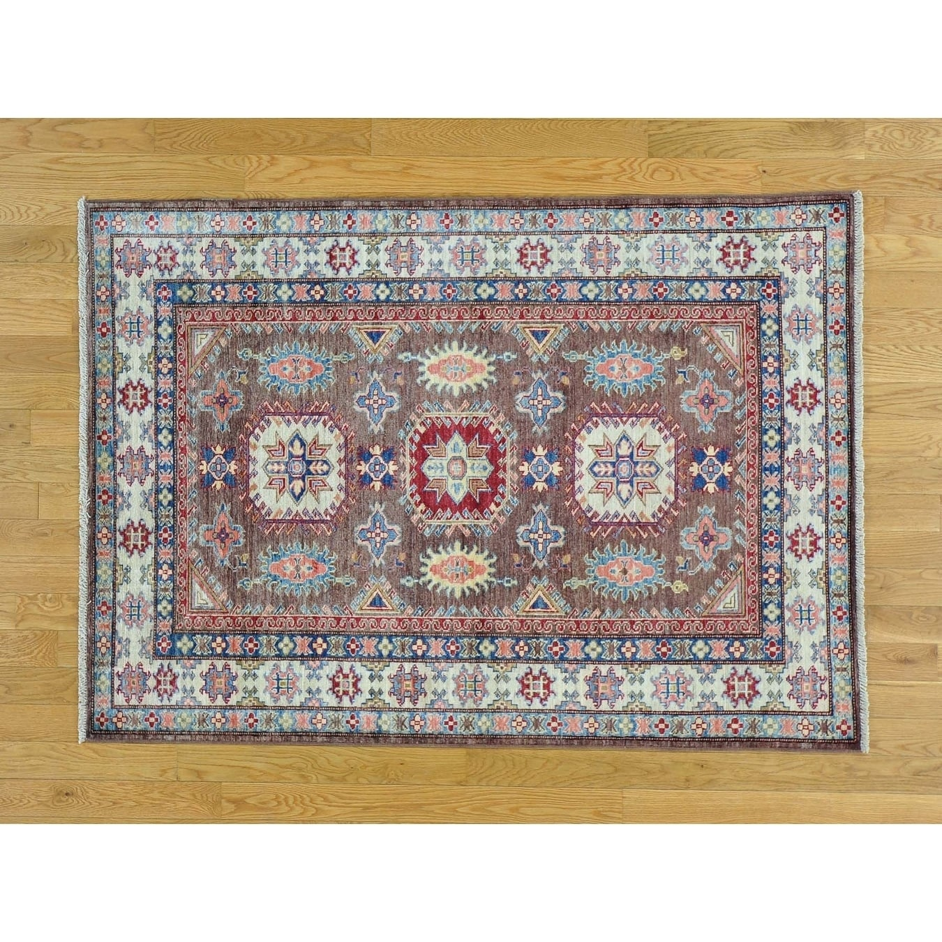 Hand Knotted Brown Kazak with Wool Oriental Rug - 4' x 5'8