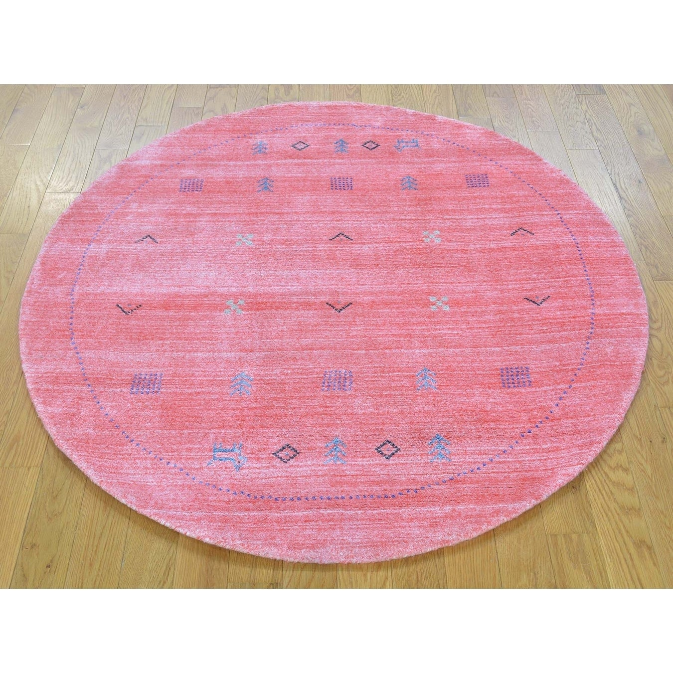 Hand Knotted Pink Modern & Contemporary with Wool & Silk Oriental Rug - 4'1 x 4'1