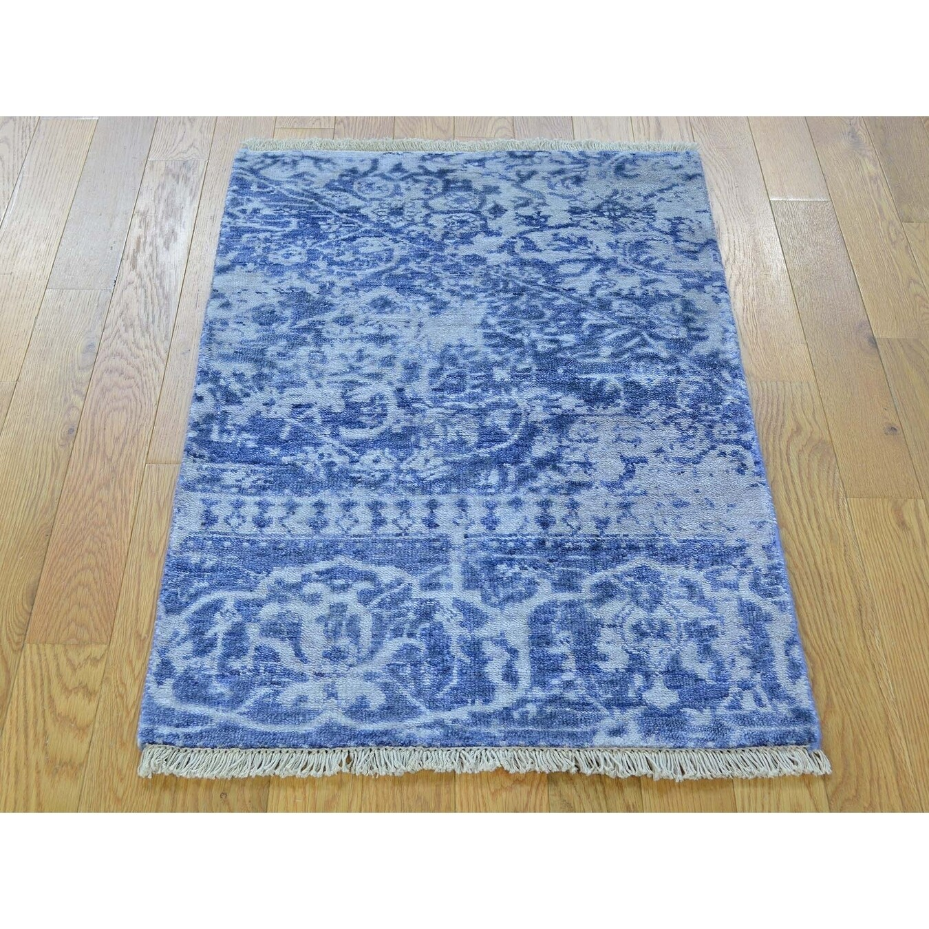 Hand Knotted Blue Modern & Contemporary with Art Silk Oriental Rug - 2' x 3'